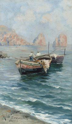 Gaetano Esposito - Barche da pesca nella baia di Napoli