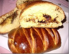 Tsoureki - Braid cake with cream and chocolate Greek Recipes, Desert Recipes, Cheesesteak, Hot Dog Buns, French Toast, Deserts, Food And Drink, Chocolate, Baking