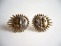Sergio Bustamante Sterling and 18k Sun Eclipse Earrings