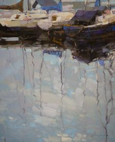 "Saatchi Art Artist Vahe Yeremyan; Painting, ""Harbor Marina Del Ray Original oil Painting"" #art"