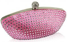 A wonderful pink clutch bag in a exquisite shell shape that sparkles throughout. This bright pink clutch is covered with alligned diamantes.