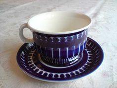 Kopp Valencia från Arabia Kosta Boda, Porcelain Ceramics, Teacups, Kitchen Accessories, Valencia, Finland, Bobby, Retro Vintage, Blue And White