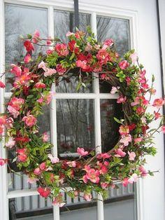 Nicole's Homemade Treats: Showoff Sunday!  Beautiful Cherry Blossom Wreath