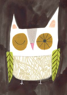 A3 OWL PRINT from my original illustration by sarahillustrator