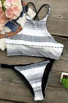 Cupshe Midnight Desire Printing Bikini Set