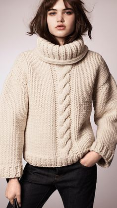 Alpaca Wool Cable Knit Roll Neck Sweater - Burberry