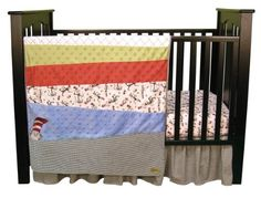 The Cat in the Hat, how perfect is that. Dr. Seuss's classic black, white, and red are mixed with cornflower blue, avocado green, golden yellow, and mango orange in this nostalgic Cat in the Hat 3 Piece Crib Bedding Set by Trend Lab. A whimsical Cat in the Hat scatter print, black and white d...