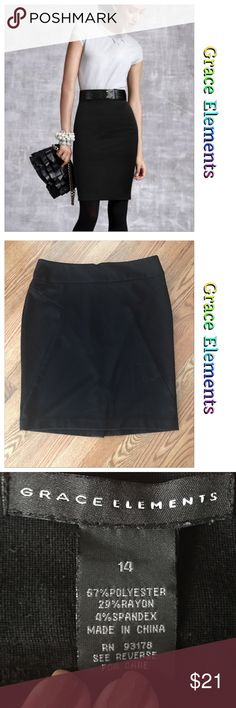 """🎼 Bye bye darling 🎼 Excellent preowned condition with no flaws  All black Wide banded knee length skirt Straight style  Button zip closure in back Back bottom kick split Stretch soft sturdy material  ✔️waist 34"""" ✔️hips 40"""" ✔️length 24"""" Bin-7 Grace Elements Skirts Pencil #bestskirtsforwidehips"""