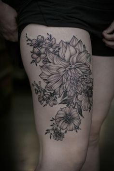 Incredible black and grey floral piece by Alice Kendall