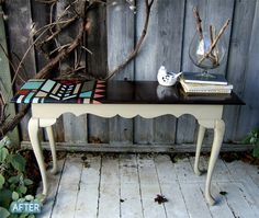 I have a table just like this.  Love the white legs and dark top.