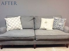 Learn how to paint a couch or other upholstered furniture with chalk paint. You can also get my DIY chalk paint recipe here! Diy Chalk Paint, Painted Sofa, Painted Furniture, Diy Couch, Cushions On Sofa, Paint Upholstery, Upholstered Furniture, Painted Couch, Upholstered Chairs
