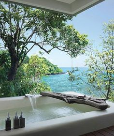 A bathroom with a view! I could live here! Dream Bathrooms, Beautiful Bathrooms, Spa Bathrooms, Luxury Bathrooms, White Bathrooms, Master Bathrooms, Bathroom Renovations, Luxury Bathtub, Kitchen Remodeling