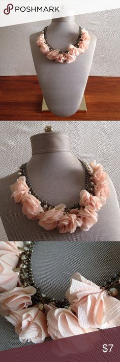 Fabric Flower & Pearl Necklace Peach chiffon floral necklace with layers of chain and faux pearls. Length is approx. 9 inches. Jewelry Necklaces