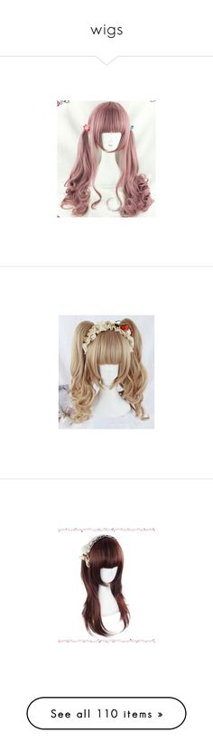 """wigs"" by vitorialn ❤ liked on Polyvore featuring beauty products, haircare, hair styling tools, hair, wig, idania bizhiw- hairstyle, wigs, makeup, filler and curly hair care"