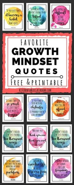 Mindset Quotes for Kids & Parents Check out these free printable quotes for some encouragement to keep up that growth mindset!Check out these free printable quotes for some encouragement to keep up that growth mindset! Growth Mindset For Kids, Growth Mindset Quotes, Growth Mindset Classroom, Growth Mindset Activities, Bulletin Board Growth Mindset, Growth Mindset Display, Class Dojo Growth Mindset, Behavior Bulletin Boards, Free Printable Quotes