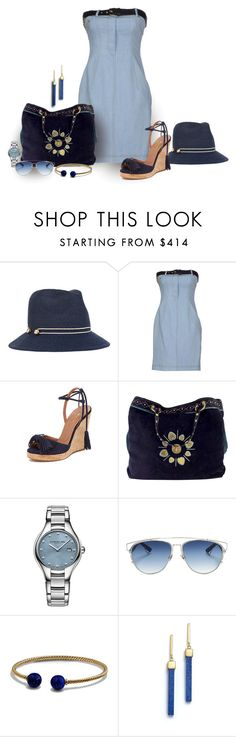 """Denim Rules"" by michelletheaflack ❤ liked on Polyvore featuring Eugenia Kim, Moschino, Aquazzura, Gucci, Raymond Weil, Christian Dior, David Yurman, Mateo and Blue"