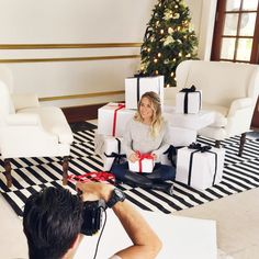 behind-the-scenes at the LC Lauren Conrad holiday photoshoot with Lauren Conrad