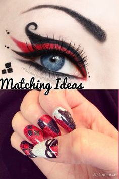 Matching nails and eye make up ideas. Harly Quinn inspired.