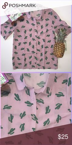 Haoduoyi! His summer is all about the topics from pineapples to cactus and I love it!. It's fun chic and full of happy. Brand new/never worn no tags. Get them shorts and fun flats ready!!! Vacation mode: check! Haoduoyi Tops Button Down Shirts
