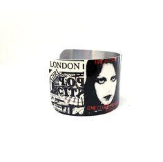 Punk Rock Jewelry - Hard Core Cuff Bracelet - Aluminum Music Jewelry - Rock Posters - Collage Art - Fan Art - Sku R17-001