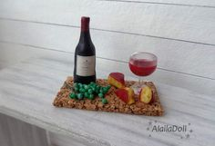 Handmade Miniature Cork Tray for Dollhouse, 1:12 wine, mini bottle wine, miniature glass wine, mini cheese, miniature green grape, miniature food  Tray is 5.5 cm (2.2 inch) x 3 cm (1.2 inch) long.