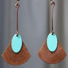 Copper Earrings Turquoise Earrings Bohemian by LeBouiBouiaBouBou, $17.50