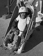 Ham (July 1956 – January 19, 1983), also known as Ham the Chimp and Ham the Astrochimp, was the first chimpanzee launched into outer space in the American space program. Ham's name is an acronym for the lab that prepared him for his historic mission — the Holloman Aerospace Medical Center, located at Holloman Air Force Base in New Mexico.