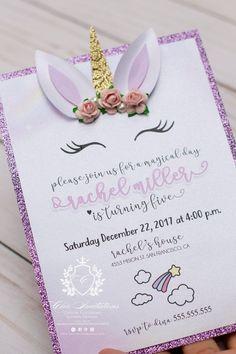 Unicorn Invitation Magical Invitation 3D Unicorn Card