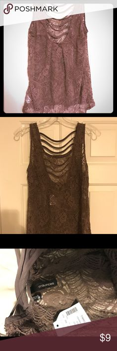 Maurices Small Gray Lace Tank NWT Small gray flower lace tank with strappy hi-lo back. Maurices Tops Tank Tops