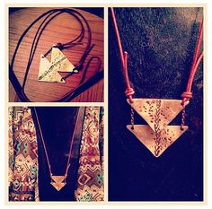 Double Triangle Brass Chevron Necklace by LairaLou on Etsy, $28.00