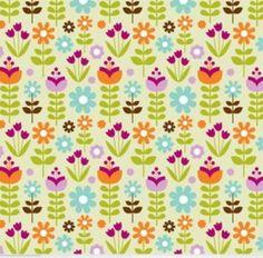 TISSU JARDIN FLEURI coupon coton de 45 x 115cm : Tissus à thème par ohzeze