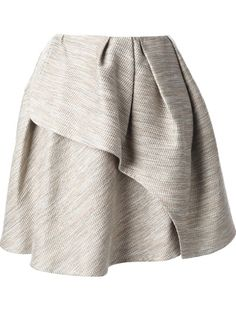 Carven Pleated Tweed Wrap Skirt