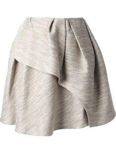 Carven Pleated Tweed Wrap Skirt