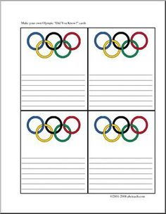 """Olympics (color) - Four printable cards with colorful """"Olympic rings"""" graphics for writing facts about the Olympics. Office Olympics, Kids Olympics, Summer Olympics, Olympic Colors, Olympic Idea, Olympic Games, Olympics Facts, Olympic Crafts, Sports Theme Classroom"""