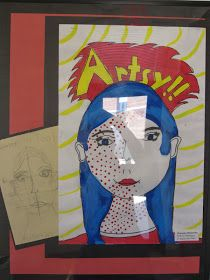 Fourth grade artists explored the colorful cartoony world of Pop Art through exploration of Pop Art painter Roy Lichtenstein. Stud...