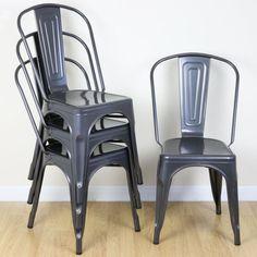 Set of 4 Gunmetal Metal Industrial Dining Chair Kitchen/Cafe/Bistro Vintage Seat
