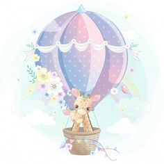 Cute giraffe mother and baby flying with air balloon Premium Vector Cute Animal Drawings, Colorful Drawings, Cute Drawings, Baby Illustration, Watercolor Illustration, Cartoon Kids, Cute Cartoon, Air Balloon, Balloons