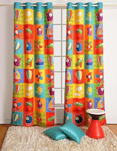 """Aero Plane Print Door Curtains - Set of 2 Curtain Panels for a Baby Nursery or Toddler or Kids Bedroom - 48"""" x 84"""" panels - 70% Blackout Poly Satin Fabric"""