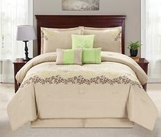 Modern 7 Piece KING Bedding Taupe  Green  Brown Vine Embroidered Comforter Set with accent pillows *** ** AMAZON BEST BUY **