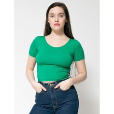 Cotton Spandex Jersey Crop Tee ($28) via Polyvore featuring tops, t-shirts, fitted tee, fitted scoop neck tee, cropped tops, crop tee y fitted t shirts