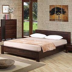 Low Profile Queen Size Bed Frame Wooden Platform Home Living Bedroom Furniture #LowProfileQueenSizeBedFrame #CountryRustic