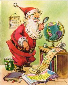 Santa Claus Plans Flight Globe World Silvered VTG Christmas Eve Greeting Card