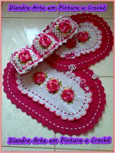 Jogo de Banheiro com rosas.