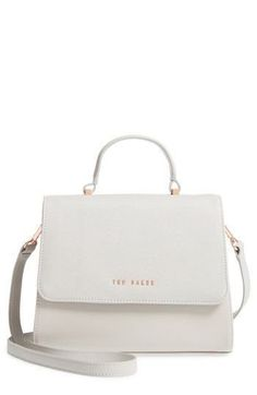 Leather tote with rolled top handle featuring hanging logo tag and rectangular logo plaque at opening Removable shoulder strap Fashion Handbags, Purses And Handbags, Fashion Bags, Gucci Handbags, Fall Fashion, Fashion Trends, Ted Baker Bag, Tote Bags, White Purses