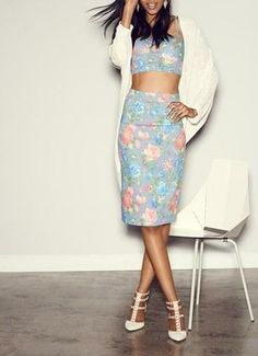 Floral Vixen! Printed crop bralette and pencil skirt.