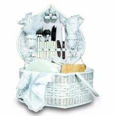 Amazon.com: Picnic Time Wedding Heart Picnic Basket with Service for Two: Kitchen & Dining