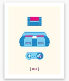 Nintendo Minimalist C Series: SNES Poster (11 x 14)