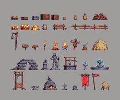 Pixel art props for level decoration Sprites, How To Pixel Art, Arte 8 Bits, Game 2d, Pixel Animation, 8bit Art, Pixel Art Games, Tile Art, Game Design