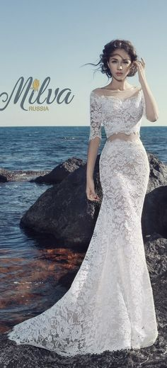 [tps_header] Milva is a Russia-based bridal house whose wedding dresses are designed with the elegant and classic bride in mind. Their 2017 & 2016 bridal 2 Piece Wedding Dress, Lace Mermaid Wedding Dress, Bridal Wedding Dresses, Lace Dress, Tulle Lace, Tulle Wedding, Ball Dresses, Ball Gowns, Bride Gowns