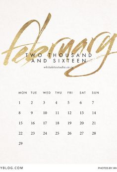 Make 2016 Golden with this Printable Calendar | Stationary by White Kite Studio